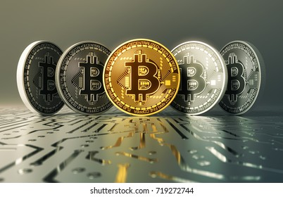 Gold And Silver Virtual Coins Bitcoins On Printed Circuit Board. 3D Illustration.