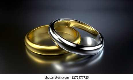 Gold And Silver Wedding Rings  Isolated On The Black Background - 3D Illustration