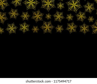 Gold snowflakes on black isolated background.