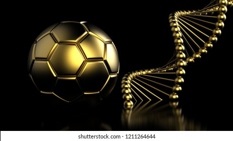 Gold Soccer Ball and DNA molecule.  3D illustration. 3D high quality rendering.