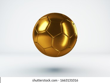 Gold soccer ball on white background. 3d Illustration.