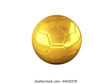 Gold Soccer ball on white background. High resolution 3D image