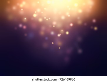 Gold sparkle and golden glow on top dark violet blurred background. Disco party festive background. Night glare background. Retro purple gold holiday texture.