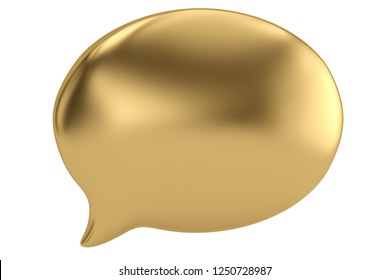 Gold speech bubble isolated on white background. 3D illustration.