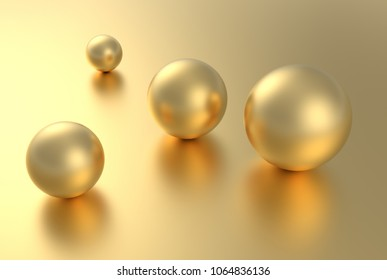 Gold sphere ball on golden background with reflection. 3D rendering.
