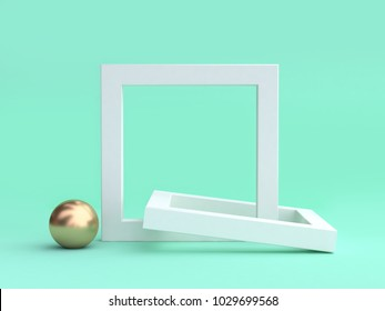 gold sphere blank white frame minimal green background 3d rendering
