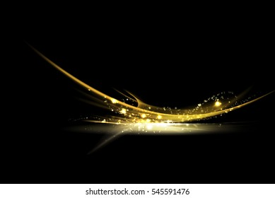 Gold splash and motion abstract graphic with glitter on black background