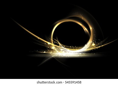 Gold splash and spiral abstract graphic with glitter on black background