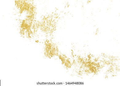 Gold splashes Texture. Brush stroke design element. Grunge golden background pattern of cracks, scuffs, chips, stains, ink spots, lines