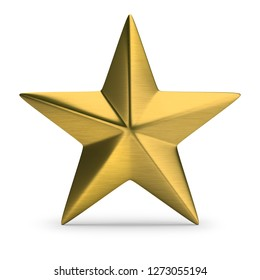 Gold star. 3d image. White background.
