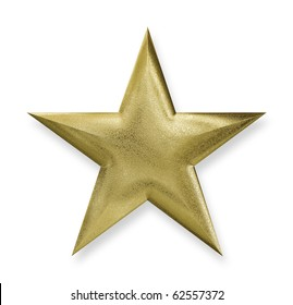 Gold Star with a clipping path, texture map 3d-rendered