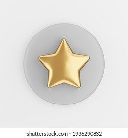 Gold star icon in cartoon style. 3d rendering gray round key button, interface ui ux element.