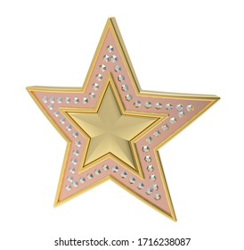Gold star inlaid with jewels. Gold inlaid star. 3D illustration.