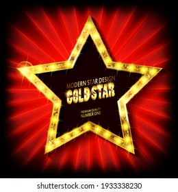 Gold star with light bulbs on a red background. Raster copy