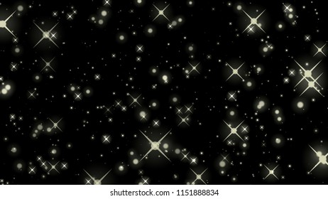 gold star on black with bokeh effect, star Colorful lights on background, galaxy, star on black background, Twinkling stars  on black, Sparkle Stars Background
