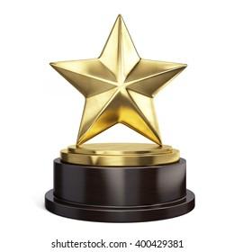 Gold Star Trophy Award Isolated On White 3d Rendering