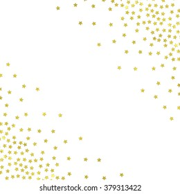 Gold stars confetti texture background. Glamour illustration for book cover, brochure, flyer, poster, birthday greeting card, wedding invitation, tag, banner, baby shower, business card, scrapbook.