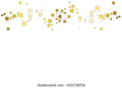 Gold stars on a white background. Festive fireworks