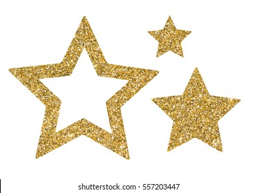 Gold stars of sequin confetti isolated on white background. Glitter powder sparkling symbol.