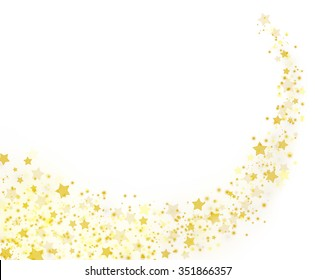 Gold stars trail on white background. Sparkling shiny stars and pixie dust on white. Happy Holidays 2016 Christmas card concept. Beautiful trendy colors for design solutions.
