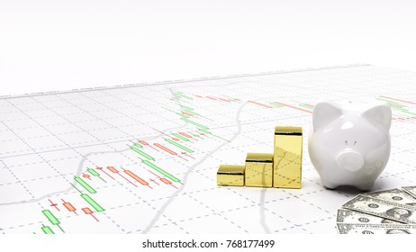 gold stock exchange graph candlestick graph stock market currency and financial investor money background investment and money chart indicator copy space minimal concept 3D illustration