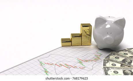 gold stock exchange graph money background investment and financial investor stock market and money candlestick graph chart with indicator copy space minimal concept flat lay 3D illustration