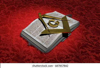 Gold symbol of the Freemasonry, Masonry or Masonic square and Compasses, over old Book. Red Background. 3D Rendering.