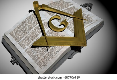 Gold symbol of the Freemasonry, Masonry or Masonic square and Compasses, over old Book. White Background. 3D Rendering.