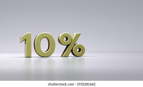 Gold Ten percent or 10 % isolated over white background with Clipping Path. Premium Gold Ten digit percent or 10 % isolated on background with Clipping Path. 3D Illustration.