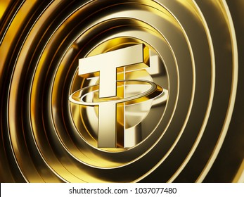 Gold Tether on the gold circle background. 3D illustration of Blockchain, btc, coin, crypto, cryptocurrency,tether