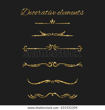 d2408be8cdc3 Gold text dividers set. Ornamental decorative elements. ornate design. Golden  flourishes. Shiny