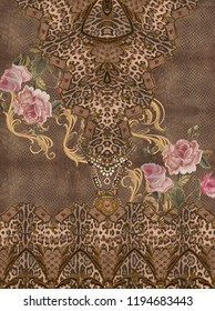 Gold texture flowers embroidery