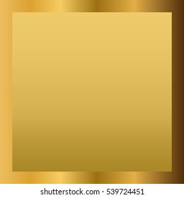 Gold texture horizontal square pattern in frame. Light realistic, shiny, metallic golden gradient template. Abstract fashion metal decoration. Design for award, sale, background Illustration