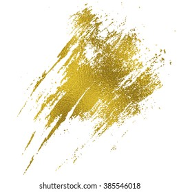 Gold texture messy brush stroke. Hand drawn decoration.
