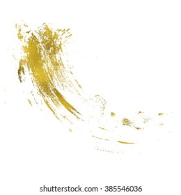 Gold texture messy brush stroke. Hand drawn background.