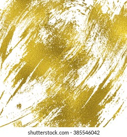 Gold texture messy brush strokes wallpaper. Hand drawn background.