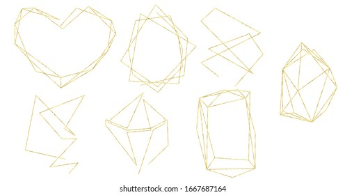 Gold texture one line art style set of geometric shapes.