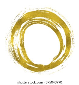 Gold texture paint hand drawn circle. Round element for design.