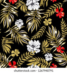 gold textured leaves and branches and red, white flowers hand-drawn in ink on a black seamless background for use in design, textiles, wrapping paper, cover