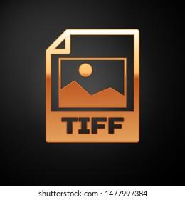 Gold TIFF file document icon. Download tiff button icon isolated on black background. TIFF file symbol