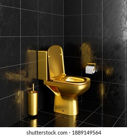 Gold toilet bowl and accessories in black tiled toilet 3d render 3d illustration