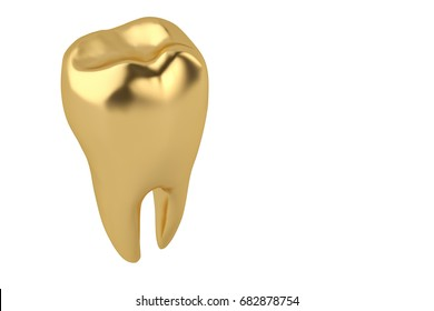 Gold tooth on white background 3D illustration.