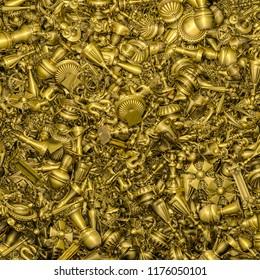 Gold treasure background / 3D illustration of golden treasure trove