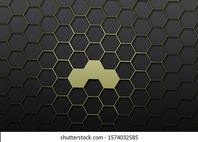 gold  triangular abstract black background, Hexagon shape graphic.