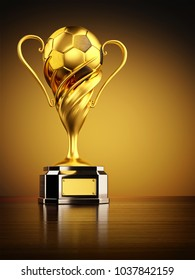 Gold trophy as championship award, football winner cup with golden soccer ball on yellow background, 3d illustration