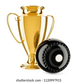 Gold trophy cup award with lawn bowls ball, 3D rendering
