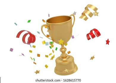 Gold Trophy cup  isolated on white background. 3D illustration.