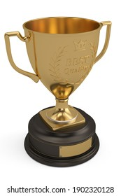 A gold trophy cup isolated on white background. 3d rendering