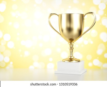 Gold trophy isolated on yellow background. 3d illustration.