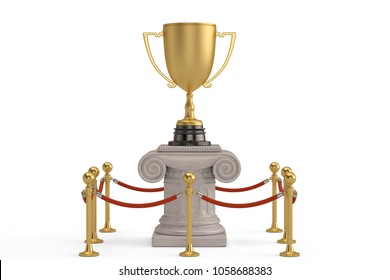 Gold Trophy On Exhibit Pillar With Rope Barrier Isolated White Background 3D Illustration